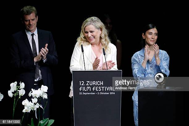 President of the jury for international movie Lone Scherfig presents the award on stage during the Award Night Ceremony during the 12th Zurich Film...