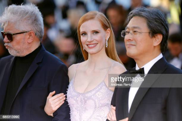 President of the jury Pedro Almodovar jurors Jessica Chastain and Park Chanwook attend the 'Okja' screening during the 70th annual Cannes Film...