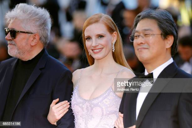 President of the jury Pedro Almodovar jurors Jessica Chastain and Park Chanwook attend the Okja screening during the 70th annual Cannes Film Festival...