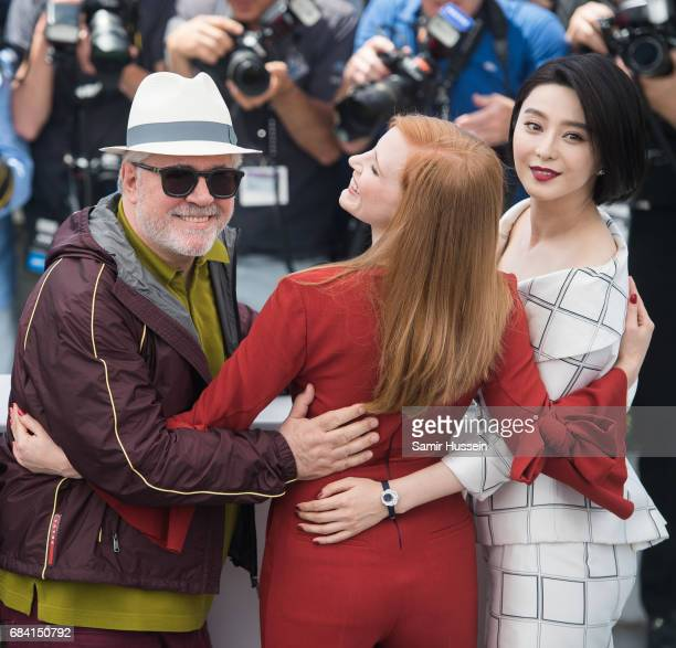 President of the jury Pedro Almodovar jury members Jessica Chastain and Fan Bingbing attend the Jury photocall during the 70th annual Cannes Film...