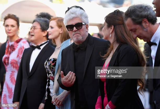 President of the jury Pedro Almodovar poses with jury members attends the 'Ismael's Ghosts ' screening and Opening Gala during the 70th annual Cannes...