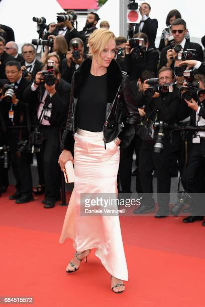 President of the jury Un Certain Regard Uma Thurman attends the Loveless screening during the 70th annual Cannes Film Festival at Palais des...