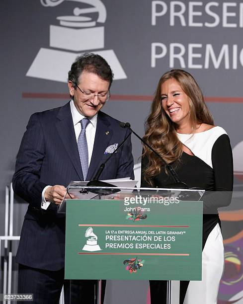 President of the Latin Recording Academy Gabriel Abaroa and Iris Oliveros speak onstage during the 2016 Latin Recording Academy Special Awards during...