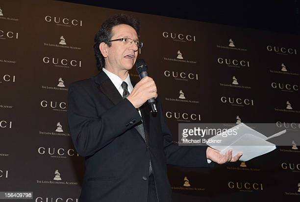 President of the Latin Recording Academy Gabriel Abaroa speaks during the 2012 Person of the Year honoring Caetano Veloso at the MGM Grand Garden...