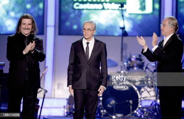 President of The Latin Recording Academy Luis Cobos honoree Caetano Veloso and President of the National Academy of Recording Arts and Sciences Neil...