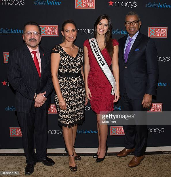 President of the Latino Commission on AIDS Guillermo Chacon VP Diversity Strategies at Macy's Dineen Garcia Miss Universe 2014 Paulina Vega and SVP...