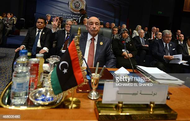 President of the Libyan House of Representative Aguila Saleh attends the closing session of the Arab League summit in the Egyptian Red Sea resort of...