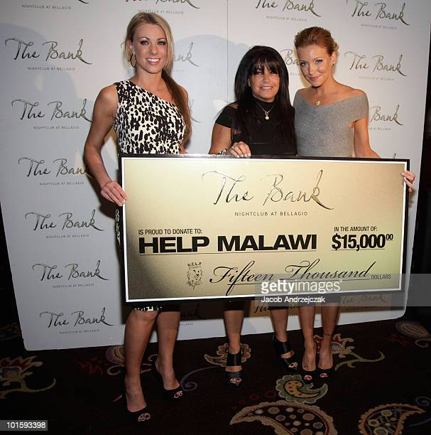 President of the Light Group Jodi Meyers Founder of HELP Jillian Wolstein and Katie Cassidy arrive at The Bank Nightclub at Bellagio Las Vegas on...