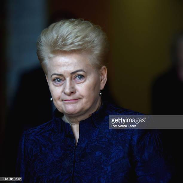 President of the Lithuania Republic Dalia Grybauskaite speaks to the media as she arrives at of the summit of European Union leaders on March 21,...