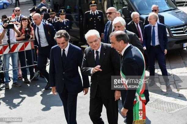 President of the Lombardy region, Attilio Fontana and Milan mayor Giuseppe Sala greet Italian President Sergio Mattarella upon his arrival to attend...