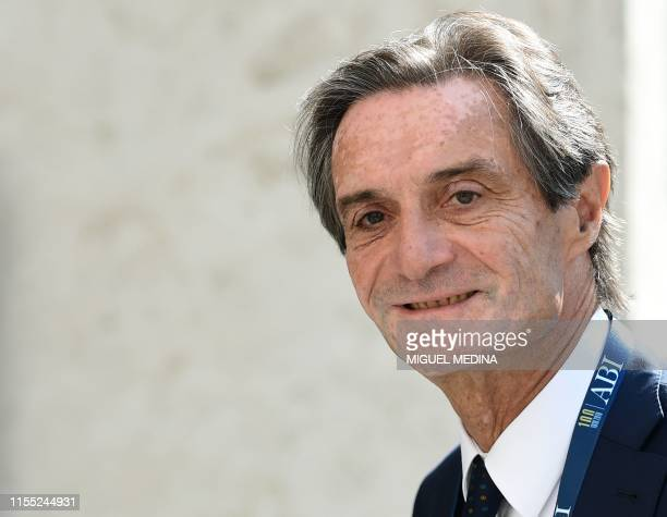 President of the Lombardy region, Attilio Fontana arrives to attend the 100th anniversary of the Italian Banking Association on July 12, 2019 in...