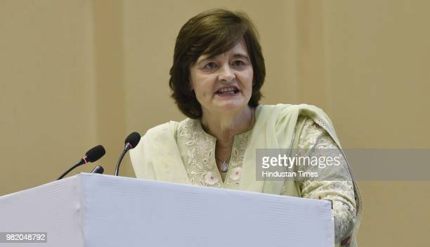 President of the Loomba Foundation Cherie Blair during an event organized by the Loomba Foundation marking International Widows Day 2018 at Vigyan...