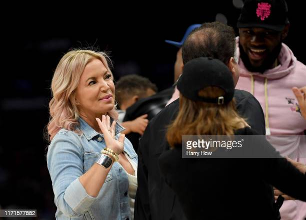 President of the Los Angeles Lakers Jeanie Buss arrives before the start of the BIG3 Championship at Staples Center on September 01 2019 in Los...