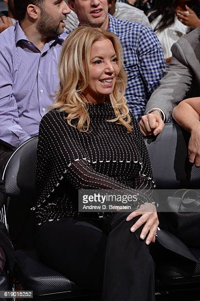 President of the Los Angeles Lakers Jeanie Buss attends the game against the Houston Rockets on October 26 2016 at STAPLES Center in Los Angeles...