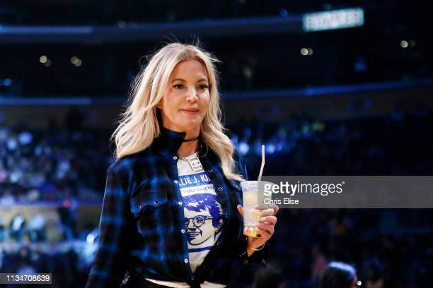 President of the Los Angeles Lakers Jeanie Buss is seen during the game against the Charlotte Hornets on March 29 2019 at STAPLES Center in Los...