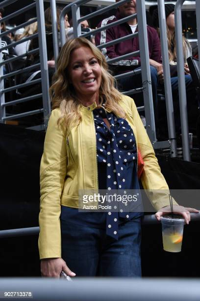 President of the Los Angeles Lakers Jeanie Buss poses for a photo during a game between the Nashville Predators and the Los Angeles Kings at STAPLES...