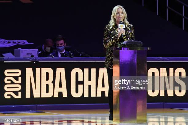 President of the Los Angeles Lakers, Jeanie Buss speaks during the 2019-20 NBA Championship ring ceremony before the game against the LA Clippers on...