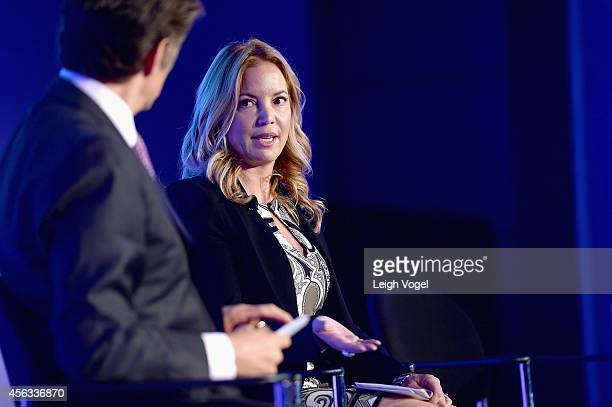 President of the Los Angeles Lakers Jeanie Buss speaks onstage at the 2014 Concordia Summit Day 1 at Grand Hyatt New York on September 29 2014 in New...