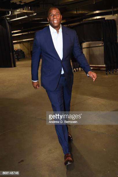 President of the Los Angeles Lakers Magic Johnson arrives at the arena before the game against the Toronto Raptors on October 27 2017 at STAPLES...