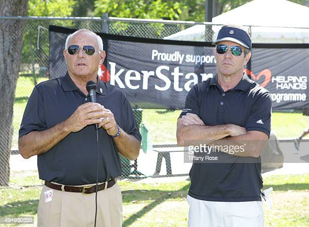 President of the Los Angeles Police Commission Steve Soboroff and Dennis Quaid attend the Los Angeles Police Memorial Foundation Celebrity Golf...