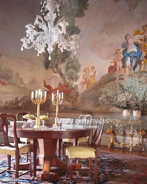 President of the Lungarno Collection Leonardo Ferragamo and wife Maria Beatrice Ferragamo's Tuscan villa is photographed for Elle Decor in 2005 in...
