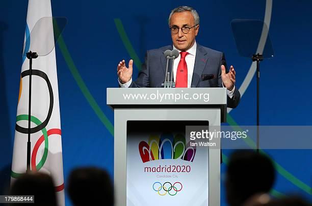 President of the Madrid 2020 bid committee Alejandro Blanco speaks during the Madrid 2020 bid presentation during the 125th IOC Session 2020 Olympics...