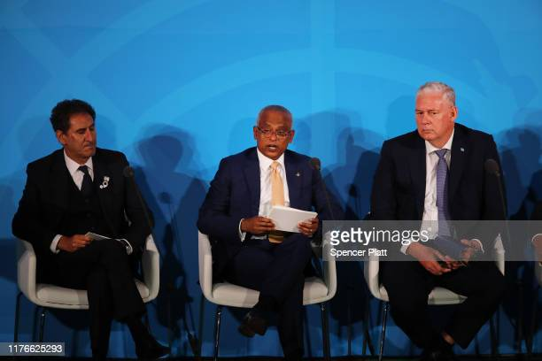 President of the Maldives Ibrahim Mohamed Solih attends the United Nations summit on climate change September 23 2019 in New York City While the US...
