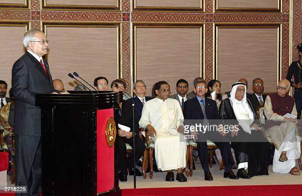 President of the Maldives Maumoon Abdul Gayoom makes his address to the nation following his swearing in ceremony in Male, 11 November 2003, as...