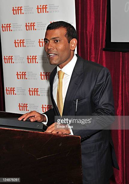 President of the Maldives Mohamed Nasheed speaks at a Foundation's Event at TIFF Bell Lightbox during the 2011 Toronto International Film Festival on...