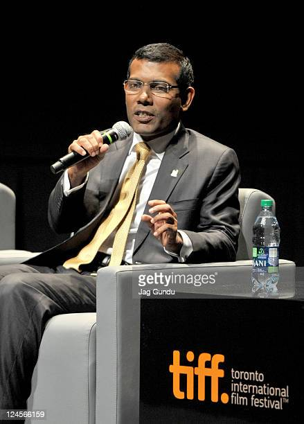 President of the Maldives Mohamed Nasheed speaks onstage during the The Island President Premiere at TIFF Bell Lightbox during the 2011 Toronto...