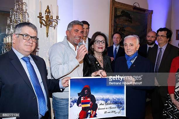 "President of the ""Mediterranean Literature Center"" Andre Bonet, Ara Khatchadourian, Bernard Thomasson, Nana Mouskouri, Stephane Bern, Charles..."