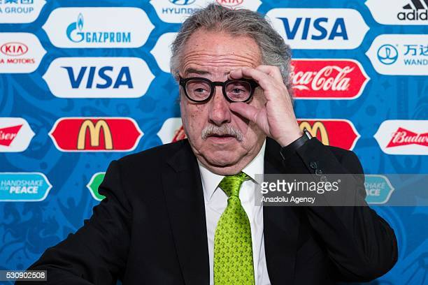 President of the Mexican Federation of Football Decio de Maria gestures during a press conference of the Russia Confederations Cup in 2017 as part of...