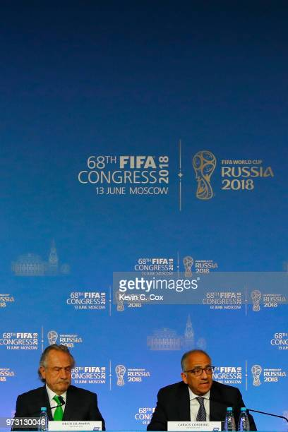 President of the Mexican Football Association Decio de Maria Serrano and Carlos Cordeiro President of the United States Soccer Federation look on...