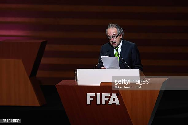 President of the Mexican Football Federation Decio de Maria addresses the delegates during the Opening Ceremony of the 66th FIFA Congress at the...