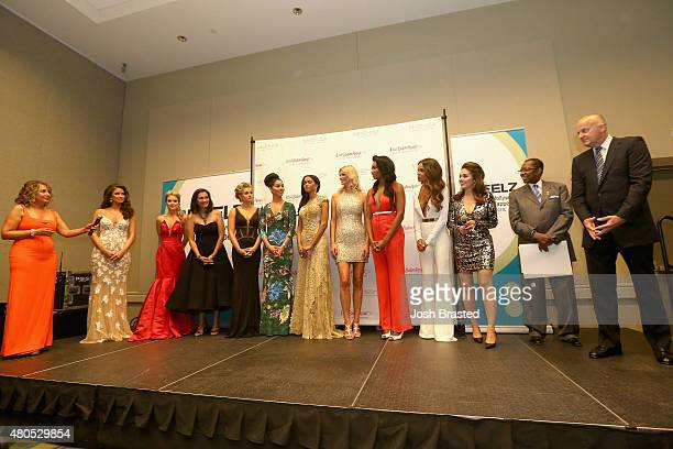President of the Miss Universe Organization Paula M Shugart speaks on stage with Nia Sanchez Tara Conner Brook Lee Danielle Doty Rima Fakih Leila...