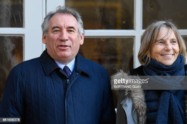 President of the MoDem centrist party Francois Bayrou and MoDem First VicePresident Marielle de Sarnez arrive for a meeting with the French Prime...