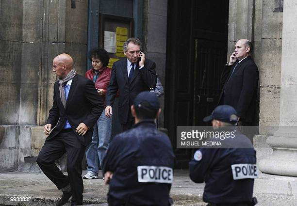 President of the Modem Francois Bayrou leaves SaintEustache church after the funeral mass of late French doctor and neuroscientist David...