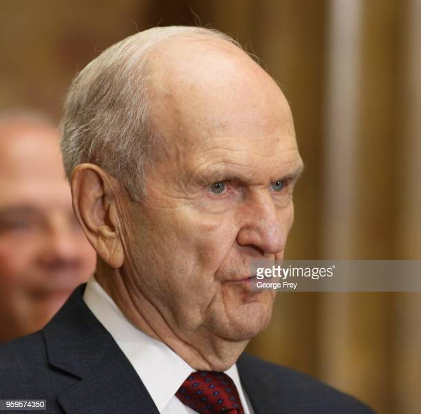 President of the Mormon Church Russell M Nelson talks at a news conference with the leaders of the NAACP at The Church of Jesus Christ of Latter Day...