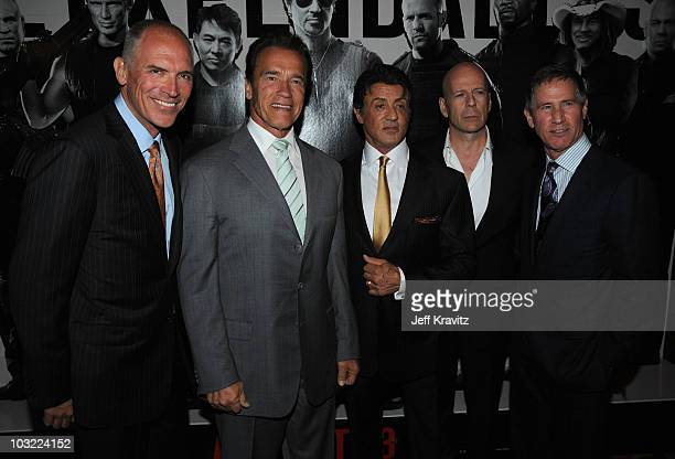 President of the Motion Picture Group and co-COO Joe Drake, California Governor Arnold Schwarzenegger, Director/ Writer/ Actor Sylvester Stallone,...