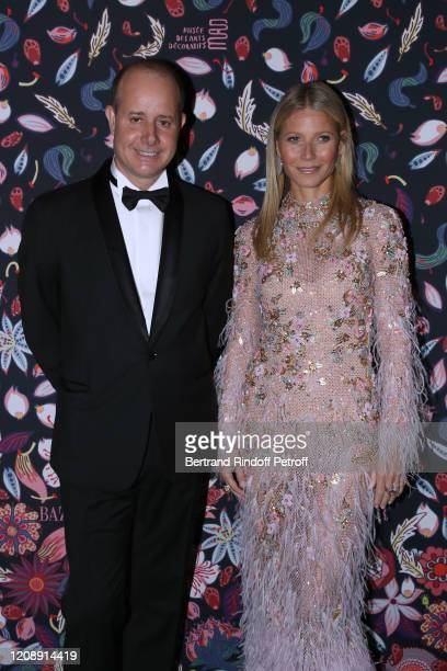 President of the Musee des Arts Decoratifs PierreAlexis Dumas and Gwyneth Paltrow attend the Harper's Bazaar Exhibition as part of the Paris Fashion...