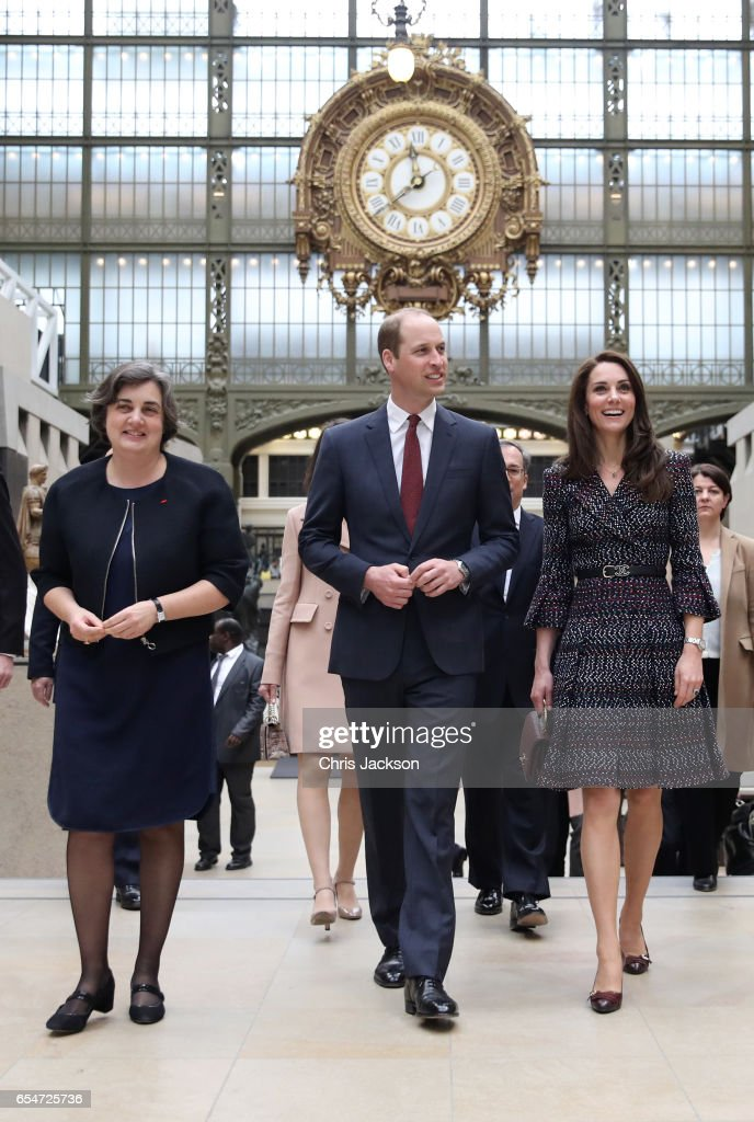 President of the museum Laurence Des Cars shows Prince William, Duke of Cambridge and Catherine, Duchess of Cambridge around at Musee d'Orsay during an official two-day visit to Paris on March 18, 2017 in Paris, France.