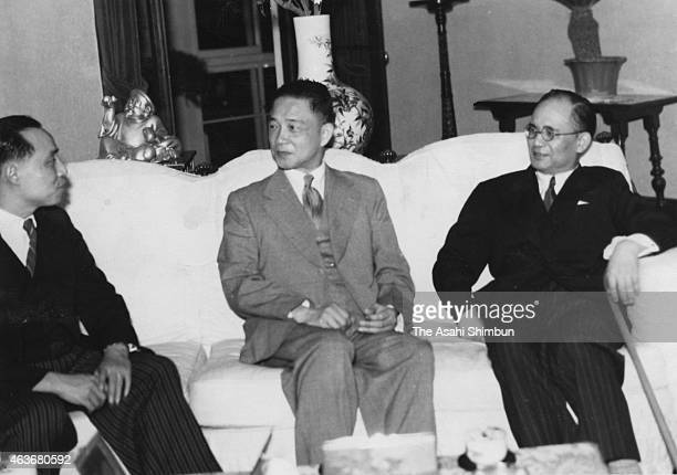 President of the Nanjing Nationalist Government, puppet state of Imperial Japan Wang Jingwei speaks with foregin minister Chu Minyi and Japanese...