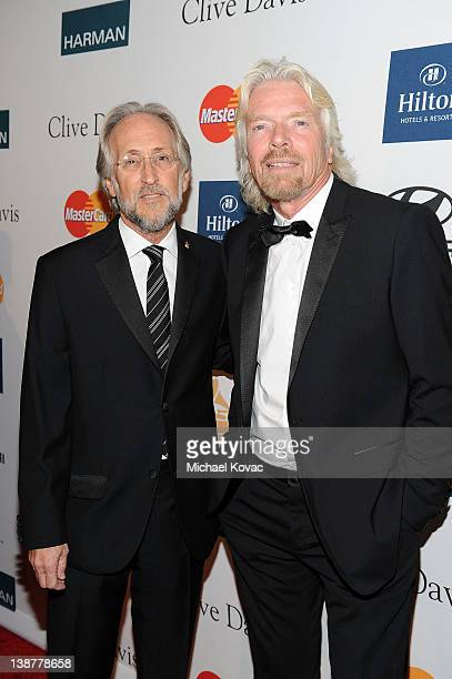 President of the National Academy of Recording Arts and Sciences Neil Portnow and honoree Sir Richard Branson attend Clive Davis And The Recording...