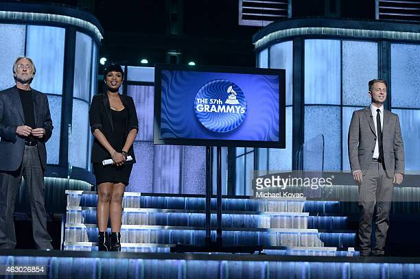 President of the National Academy of Recording Arts and Sciences, Neil Portnow and singers Jennifer Hudson and Ryan Tedder on stage before The 57th...