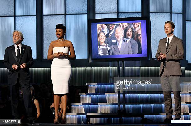 President of the National Academy of Recording Arts and Sciences Neil Portnow recording artists Jennifer Hudson and Ryan Tedder speak onstage during...
