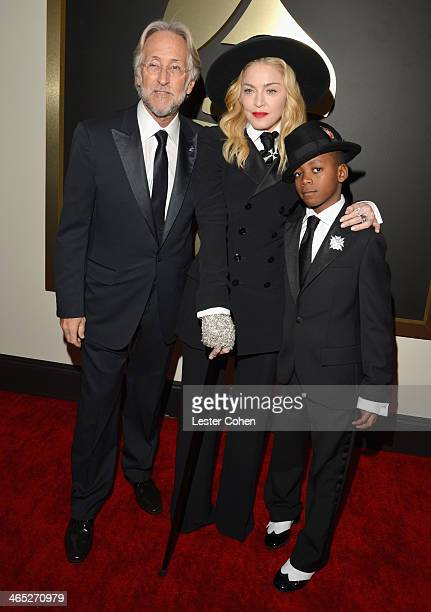 President of the National Academy of Recording Arts and Sciences Neil Portnow recording artist Madonna and David Banda attends the 56th GRAMMY Awards...