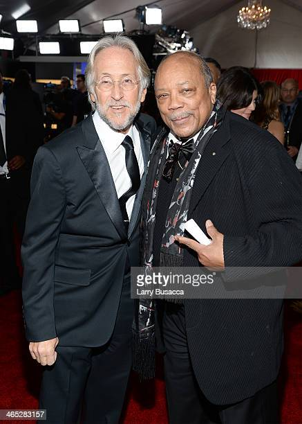 President of the National Academy of Recording Arts and Sciences Neil Portnow and producer Quincy Jones attend the 56th GRAMMY Awards at Staples...