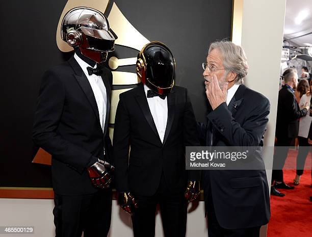 President of the National Academy of Recording Arts and Sciences Neil Portnow and musical group Daft Punk attend the 56th GRAMMY Awards at Staples...