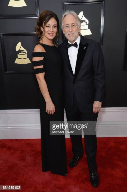 President of the National Academy of Recording Arts and Sciences Neil Portnow and Michele Tebbe attend The 59th GRAMMY Awards at STAPLES Center on...