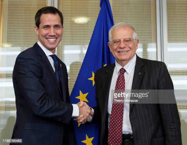 President of the National Assembly of Venezuela, Acting President of Venezuela Juan Gerardo Guaido Marquez is welcome by the EU Commissioner for...